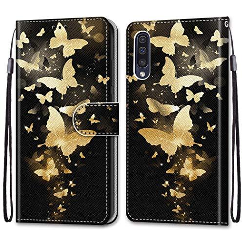 Nadoli Bunt Leder Hülle für Samsung Galaxy A50,Cool Lustig Tier Blumen Schmetterling Entwurf Magnetverschluss Lanyard Flip Cover Brieftasche Schutzhülle mit Kartenfächern