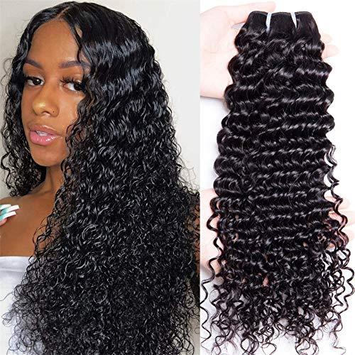 Lemoda Hair Brazilian Virgin Hair Deep Wave Bundles One Bundle Unprocessed Virgin Remy Human Hair Extension Deep Curly Hair Weave Natural Color(26 Inch)