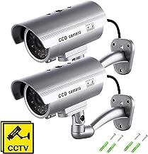 SeeKool Cámara Falsa,2Pcs Dummy Cámara de Seguridad,Cámara Simulada Falsa Inalámbrico Sistema de Vigilancia IR LED Parpadeante Fake Cámara Simulada CCTV