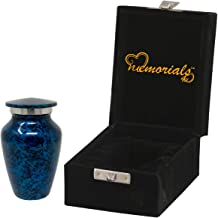 Memorials4u Forest Blue Cremation Urn for Human Ashes - Handcrafted Funeral Urn - Affordable Urn for Ashes - Best Deal (1 Mini Keepsake)