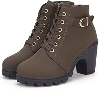 Autumn and Winter High-Heeled Women's Boots Cross Straps Short Boots Thick with Martin Boots Leather Boots - Green 230Mm