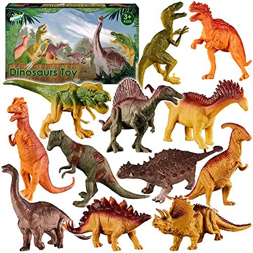 HERSITY 12 Piezas Figuras de Dinosaurios Animales Realistas Juguetes Fiestas Regalo para Niños Niñas Infantiles