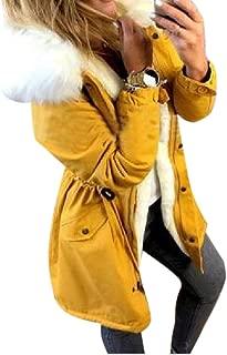 Women Winter Long Sleeve Hooded Coats Mid Length Drawstring Slim Cotton Padded Basic Tops