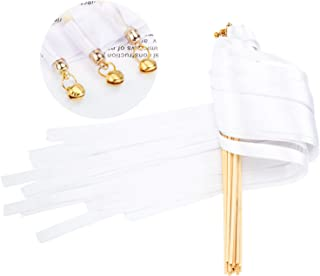 Whaline 30 Pack Ribbon Wands Chromatic Silk Ribbon with Bells Fairy Stick Wish Wands for Wedding Party (White)