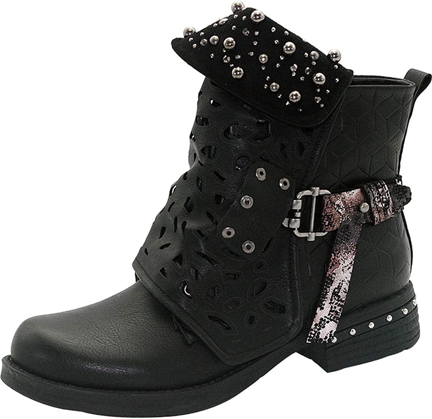 Sekesin Women Fashion Studded Punk Boots Vintage Leather Buckle Martin Boots Carved Biker Western Booties Zipper