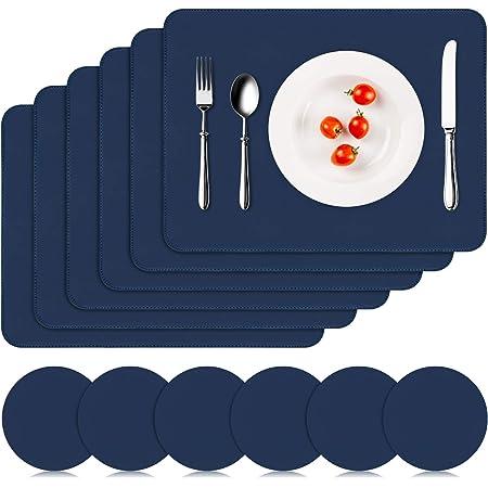 APLKER Sets de Table en Cuir PU, Lot de 6 Sets de Tables Lavables et Dessous de Verres Imperméables Sets Table Résistant à la Chaleur Antidérapant, Facile à Nettoyer, 41 x 30 cm, Bleu foncé