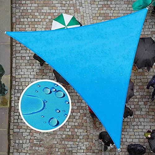 QAZW Vela Parasol Triangular, Toldo de Vela de Parasol HDPE Bloque UV Toldo de Patio Toldo de Vela de Sol con Cuerdas Libres para Jardín, Terraza, Piscina,Blue-3.6x3.6x3.6m