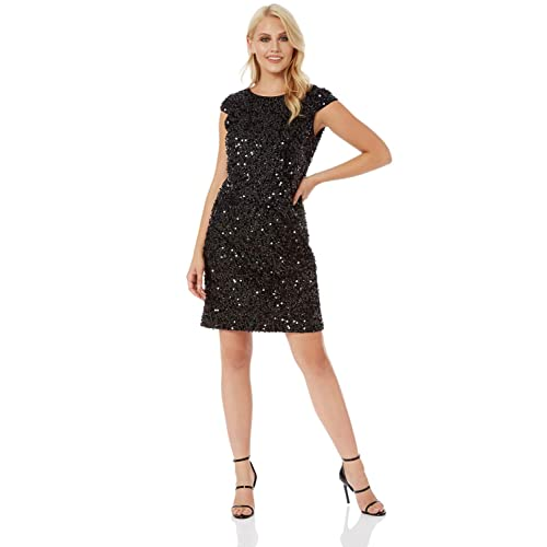 227c5aabc58 Roman Originals Womens Sequin Tinsel Shift Little Black Dress - Ladies  Christmas Party Evening Going Out