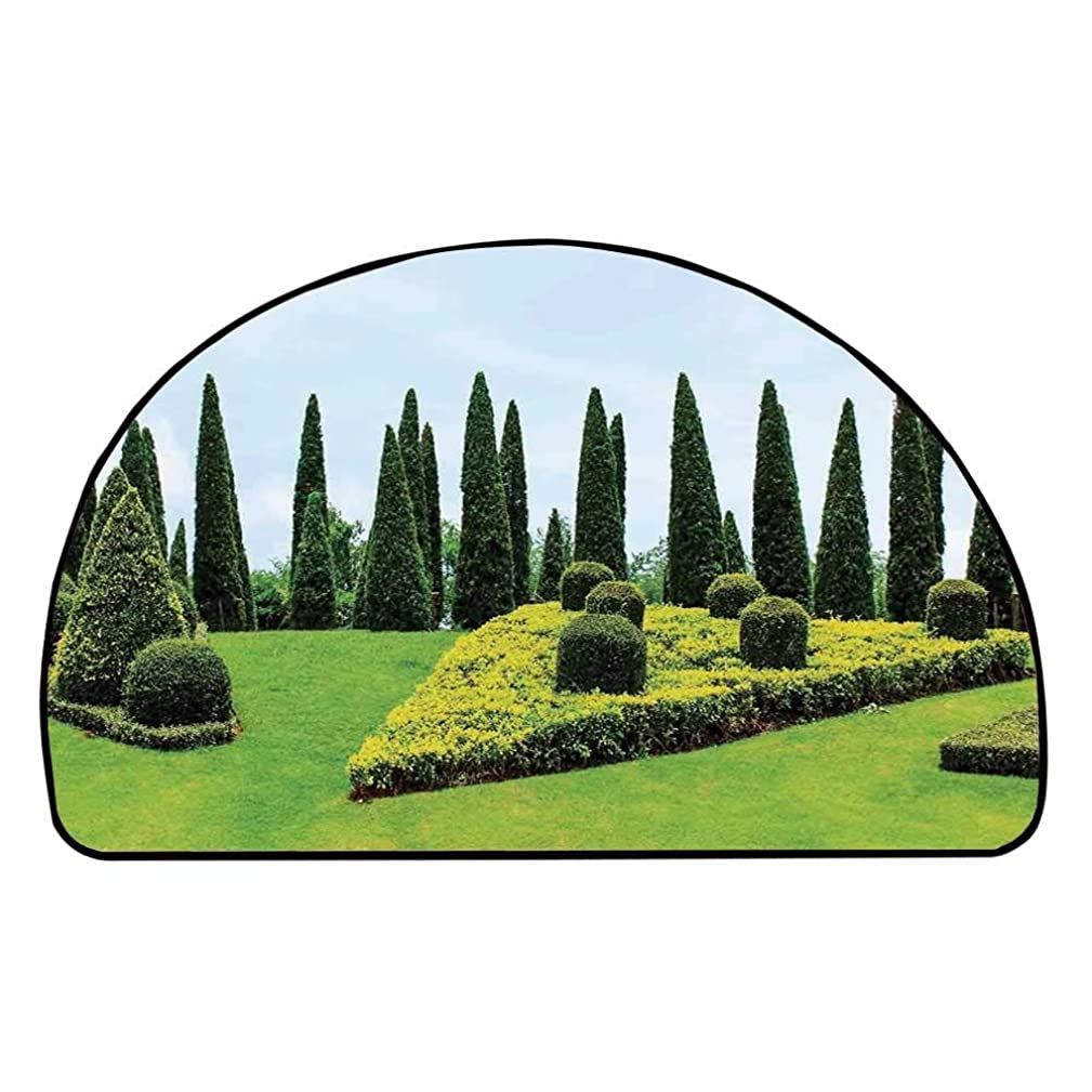 C COABALLA Country Home Decor Comfortable Semicircle Mat,Classic Formal Designed Garden with Evergreen Shrubs Boxwood Topiaries for Living Room,25.9