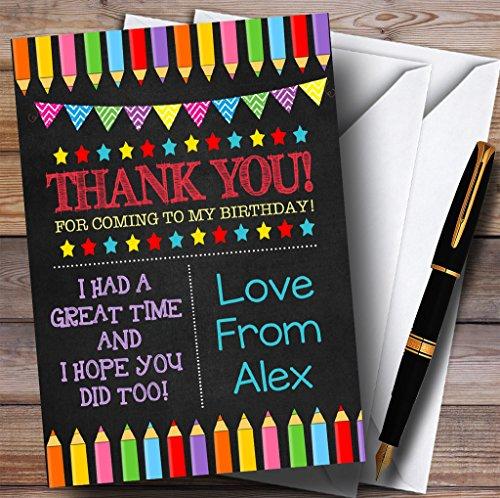 Party Thank You Cards kunst ambachtelijke potloden krijt stijl partij met enveloppen - elke aangepaste tekst voor elke gelegenheid 20 Cards & Envelopes