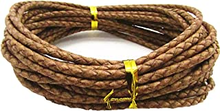 3.0mm Braided Leather Cord Round Braided Leather Cord Leather Working Cord String Cord 5Meter (Natural)