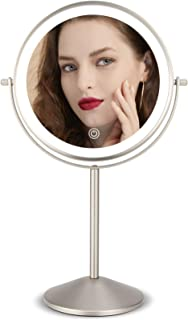 Makeup Vanity Mirror with LED Lights, 8 Inch Rechargeable Double Sided 10X Magnification, 3 Color Lighting, Dimmable Cosme...