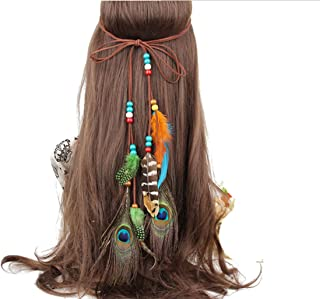 Sumddy Color Wooden Beads Feather Hair Band Indian Feather Headdress Headband Bohemian Tassel Hairband Head Chain Headwear Hair Styling Accessories for Women Girls Handmade