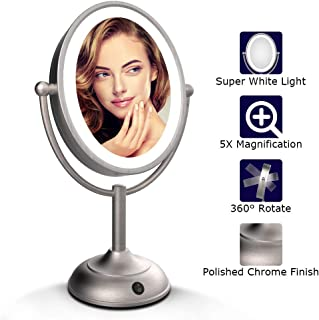 """Lighted Makeup Mirror - 8"""" LED Vanity Mirror with Natural LED Light, 1X/5X Magnification, Double Sided Lighted Vanity Makeup Mirror, 360 Degree Rotation, Battery Operated/AC Adapter"""