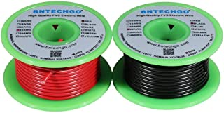 BNTECHGO 22 Gauge PVC 1007 Solid Electric Wire Red and Black Each 25 ft 22 AWG 1007 Hook Up Wire