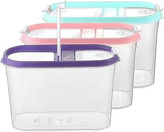 My-goodbuy24 Schüttdosen für Müsli - Cornflakes - 3er Set - Vorratsdosen für Lebensmittel - Frischhaltedosen - Streudosen - 2 Aufklappbare Deckel - stapelbar - Spülmaschinenegeeignet 3, 1,4L - Mix