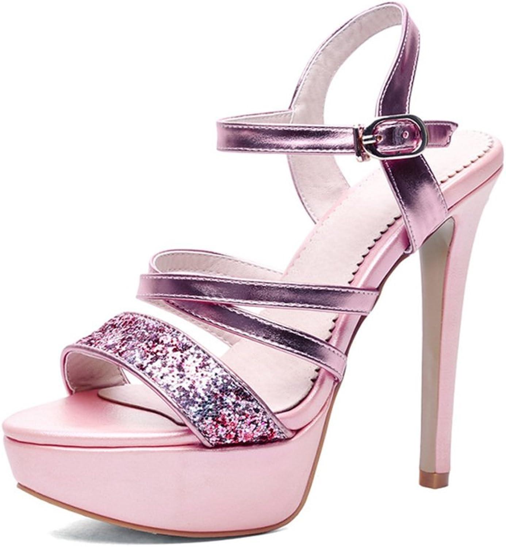 RHFDVGDS Sequined fine platform peep-toe stiletto shoe sexy buckle high heel Sandals