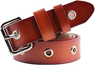 Women's Belt Genuine Leather Belt with Solid Pin Buckle Pants Jeans Pants (Color : Red)