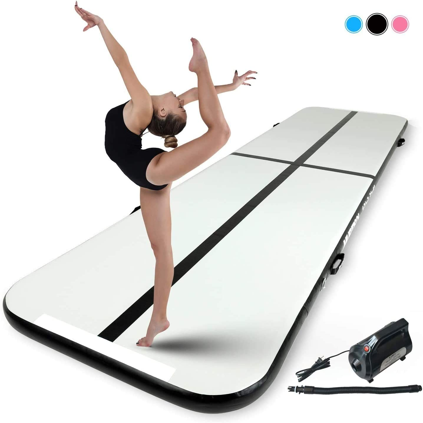 Murtisol 10//13//16//21//24//27//34ft Inflatable Gymnastics Training Mats Tumbling Mats 4//6 Inch Thickness for Home Use//Training//Cheerleading//Yoga//Water Fun with Electric Pump Pink//Blue//Black