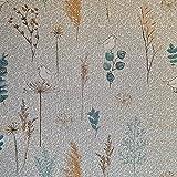 Stoff Meterware Baumwolle natur Gräser Blätter Vögel