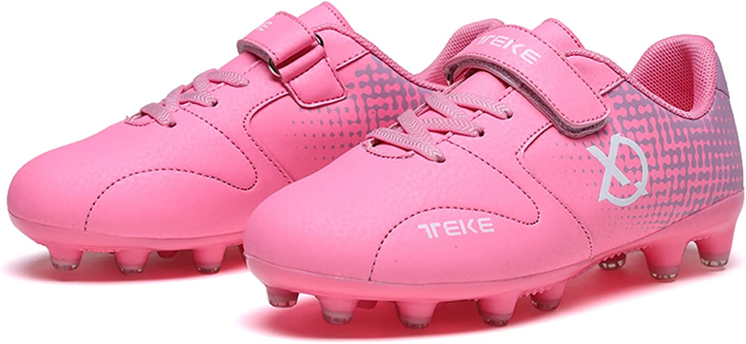 YUKTOPA Boy's Girls Outdoor Athletic Soccer Shoes Kids Adolescent Firm Ground Turf Cleats Spikes Soccer Football Boots