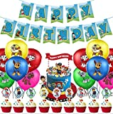 WENTS Ballons de baudruche Pat Patrouille, Paw Dog Patrol Hanging Swirl Decorations,Cake Topper, for Kid Birthday Party Decoration, DIY Cute Theme Cake Decoration Picks