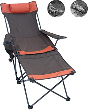 ECHOV Reclining Lawn Chairs,Camping BBQ Backrest Armchair, Outdoor Travel Portable Folding Chair, Home Nap Garden Lounge Chair, Sketching Beach Fishing Chair (Color : Brown, Size : 9058cm)