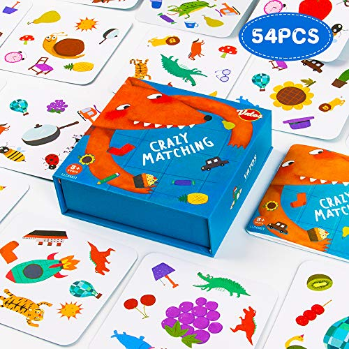 VATOS Crazy Matching Board Game, 54pcs Card Games Preschool Reaction Educational Toys for Kids, Memory Animal Pair Cards, Family Tabletop Match Board Games for Kids 3 4 5 6 Years Old Boys & Girls