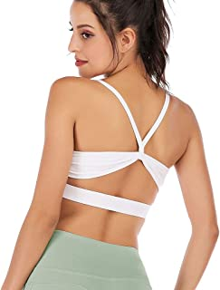 Helisopus Removable Padded Sports Bras Medium Support Workout Yoga Bra