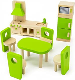 Imagination Generation Wooden Wonders Eat-in Kitchen and Dining Room Set | Colorful Dollhouse Furniture for Doll Family | Traditional Vibrant Accessories for Pretend Play | Perfect for Play Houses