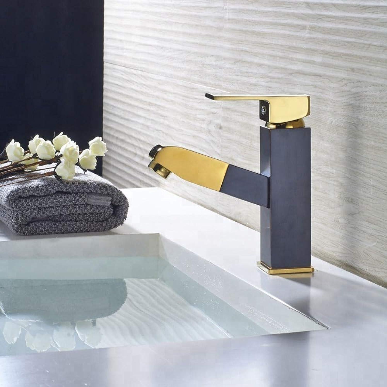 Waschtischarmatur Moderne Einhandauszugfunktion schwarz & Gold Bad Handwaschbecken Wasserhahn Armaturen