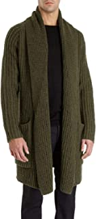 Mens Cardigan Sweaters Open Front Chunky Knit Shawl Collar Long Sleeve Jacket Coat