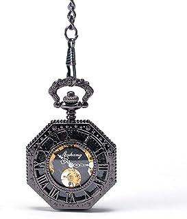 Lwieui Reloj de Bolsillo Reloj de Bolsillo mecánico anticuado Reloj de Bolsillo Octogonal Creativo con Mesa giratoria Relo...