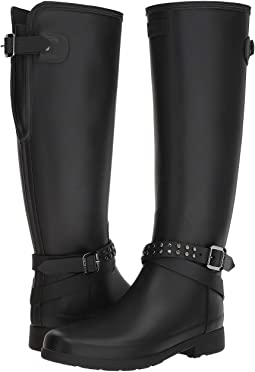 Refined Back Adjustable Calf Stud Tall Rain Boots