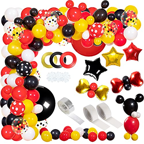 JULLIZ 162pcs Mickey Mouse Balloons Garland Kit, Foil Confetti Black Red Yellow White for Cartoon Mickey Theme Birthday Shower Decorations