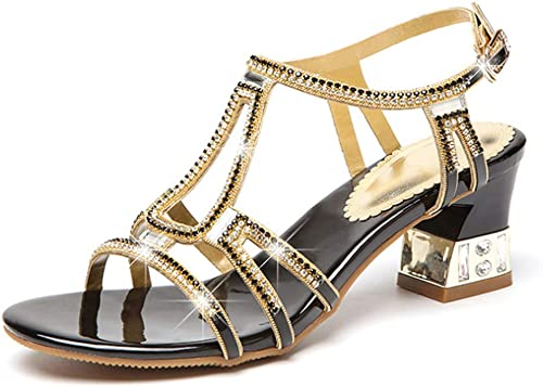 Selling Selling Sandales à Diamant pour Femmes, Sandales à Paillettes d'été, Sandales à Talons Hauts, épaisses avec des Pointes de Poisson, Bouton de Diamant, Bout Ouvert, Chaussures en Cristal,noir,36  vente