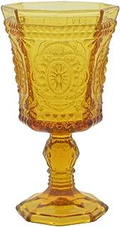 10 Strawberry Street Vatican 8 Oz Red Wine Glass, Set of 6, Amber Glass