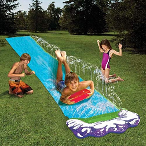 Watersports Giant Backyard Waterslide,PVC Outdoor Garden Slip Slide with Splash Sprinkler and Crash Pad for Children Summer Backyard Pool Water Toys- for Summer