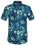 SSLR Herren Hawaiihemd Kurzarm Freizeithemd Jungle Blätter 3D Gedruckt Button Down Aloha Shirts Für Strand (X-Large, Blue)