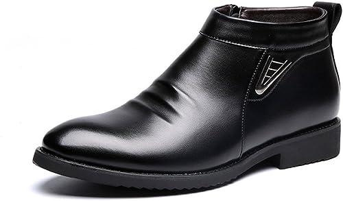 JIALUN-des Chaussures Hiver Vlevet Retro Hommes Bottes Confortable Zipper Décontracté Chaussures de Neige en Cuir pour Les Messieurs (Couleur   Noir, Taille   9 MUS)