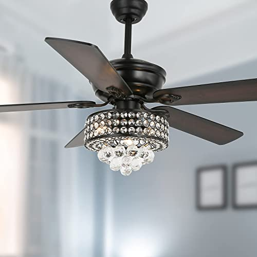 new arrival YYEHON 52 Inch Crystal lowest Chanderlier Fan with Lights and Remote Control, Industrial Ceiling Fan with Dual Finish Reversible Blades, Fandelier for Living Room, Dining Room, Bedroom, Family online Room, Black outlet sale
