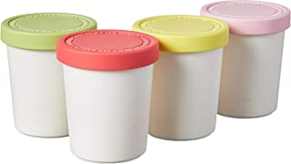 Tovolo Sweet Treat, 6 oz. Mini Tubs Set of 4, Tight-Fitting Silicone Lid, Easy Stacking Reusable Ice Cream Container, 6-Ou...