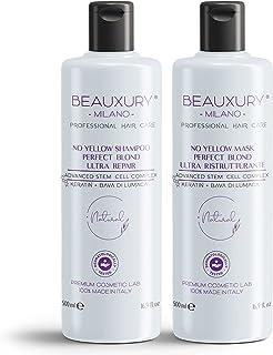 Novità 2021 Shampoo & Maschera 500+500 ML Antigiallo Perfect Blond per Capelli Biondi, Platino, Grigi e Argento Cellule St...