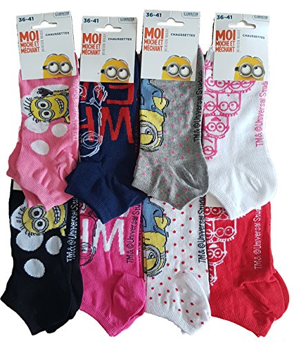 Disney-Socken für Damen, Motiv: Minnie, Prinzessin, Tinkerbell, Winnie, Titi, Star Wars aus Baumwolle, verschiedene Modelle Gr. One size, Set mit 6 Sockeln, 1 Minions