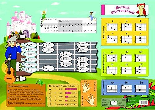 Merlins Gitarren-Poster-Noten und Gitarrengriffe für Anfänger
