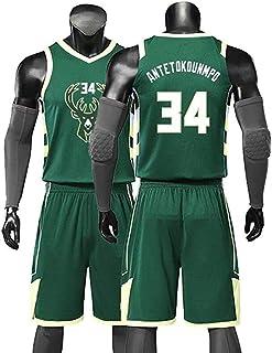 YIXUAN Uomo Maglia NBA Jersey Milwaukee Bucks #34 Giannis Antetokounmpo Swingman Maglia da Basket