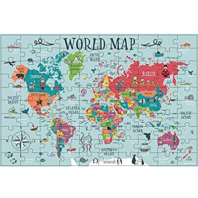 Children's World Map Puzzle 100 Pieces - Geography for Kids Made Fun - Durable 100 Piece Puzzles for Kids Ages 8-10, Educational World Puzzle is a Great Gift for Girls and Boys