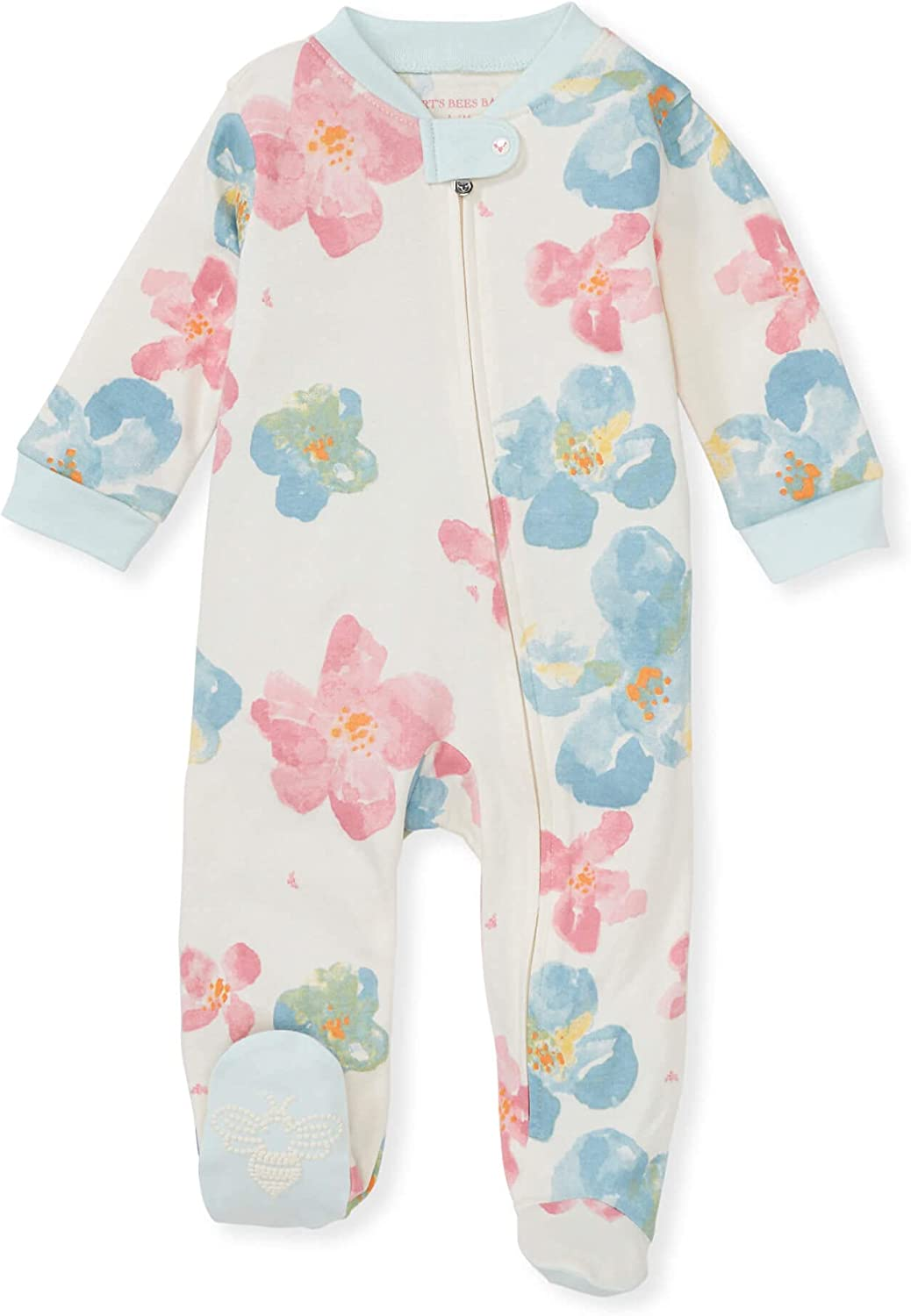 Burt's Bees Baby Baby Girls' Sleep and Play Pjs, 100% Organic Cotton One-Piece Pajamas Zip Front Loose Fit Romper Jumpsuit