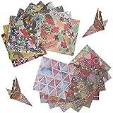 Daohexi Juego de 100 hojas de papel para manualidades de origami, de doble cara, papel de scrapbooking de colores, estilo étnico y estampado de plantas (15 x 15 cm)