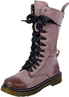 Gothique Femme à Lacets Bottes Mi-Mollet Talon bottier haut plate-forme punk Équitation Chaussures